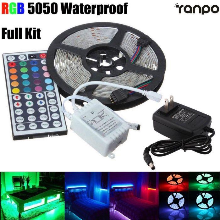 RGB LED лента, диод 3528, с дистанционно и захранване