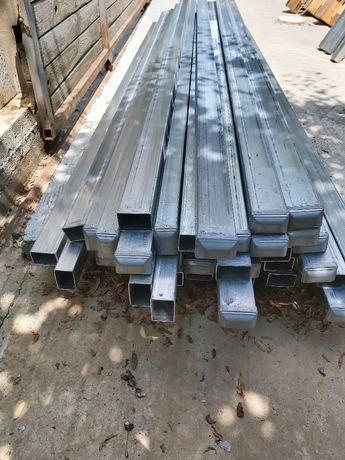 Stâlpi din otel pt gard 60x40 mm zincati termic +dop protecție