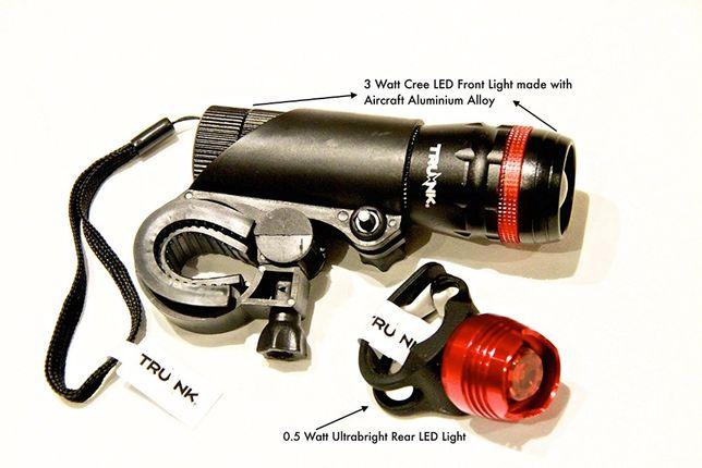 Set lumini bicicleta (fata spate) superluminos 3W, baterii incluse