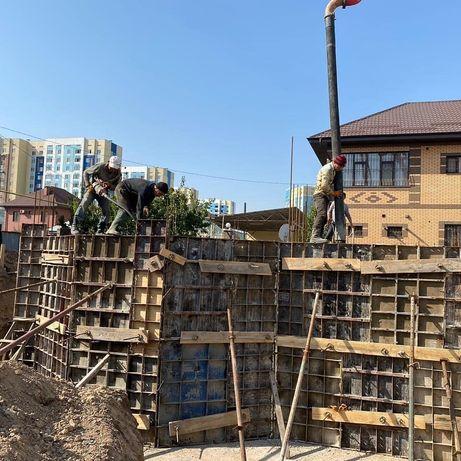 Заливка бетон фундамент опорные стены монолитчики,разработка котлован