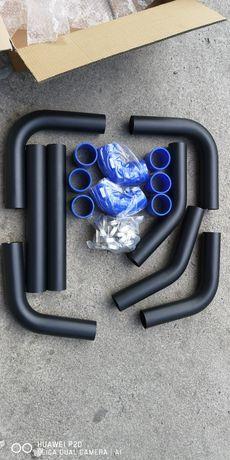 Комплект алуминиеви турбо пътища силиконови снадки и скоби на 57/63мм