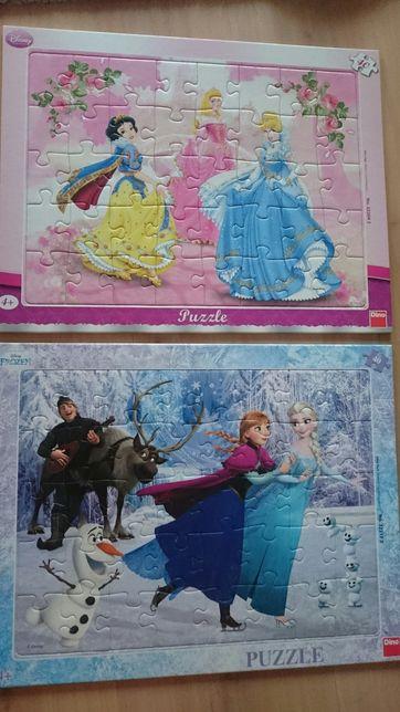 Puzzle in rama 40 piese Frozen și printese Disney