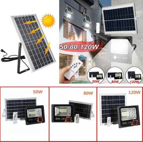 Мощна водоусточйчива соларна лампа 50/80/120W с дистанционно управлени