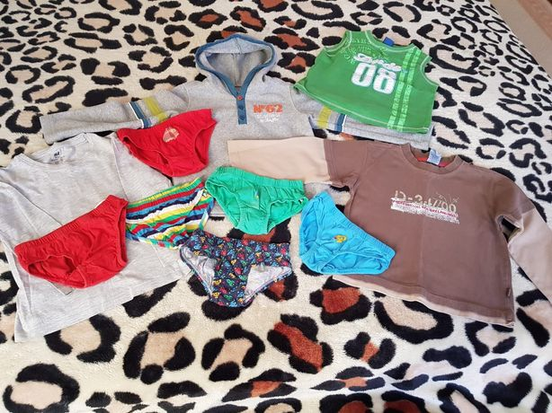 Lot:hanorac polar,2 bluze,maieu,chiloti,baieti,4-5 ani