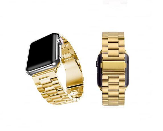 Метална каишка гривна за Apple watch 2, 3, 4, 5, 6, SE - златиста Gold