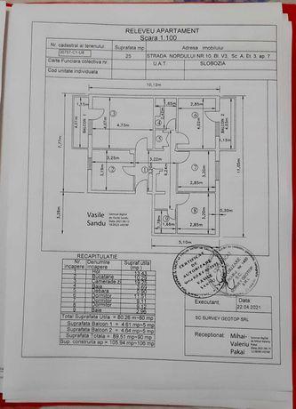 Apartament de vânzare, 4 camere, 80 mp suprafață utilă, 2 balcoane.
