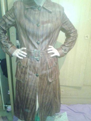Турецкий кожаный плащь пальто