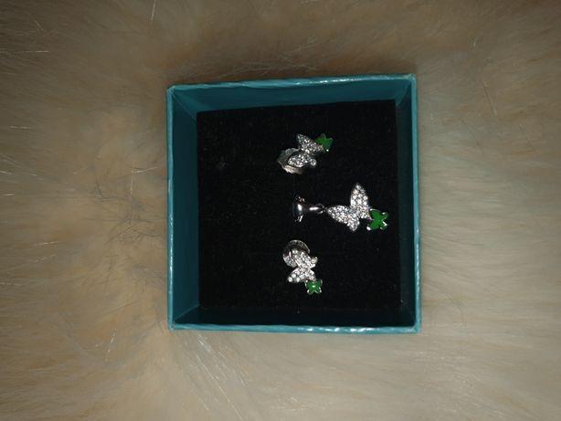 Set argint cercei și lănțișor cu pandantiv