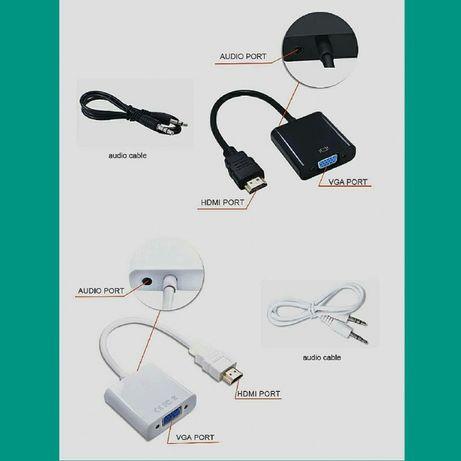 Кабель- переходник - адаптер HDMI-VGA для старого монитора VGA с аудио