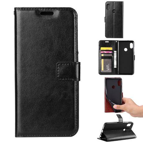 Husa Huawei P Smart 2019, piele fina, tip portofel, magnetica, negru