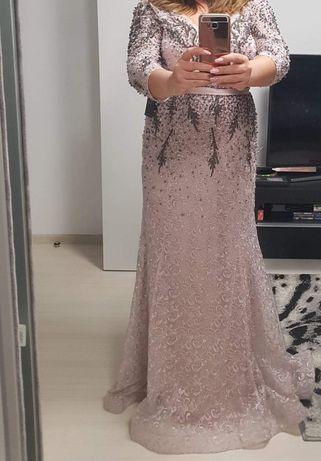 Rochie de ocazie nunta de nasa marime XL culoare roz pudră/ nude lungă