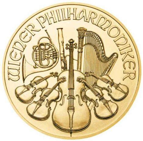 Златна монета Австрийска филхармония 1/10 oz 2021