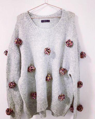 pulover zara pompoane