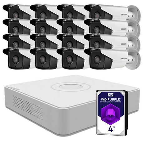Sistem supraveghere video 16 camere 2MP Hikvision, FullHD + 4TB HDD
