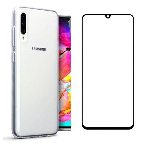 Husa Slim Silicon si Folie Sticla Curbata Samsung A40 A30S A50 A70 A10