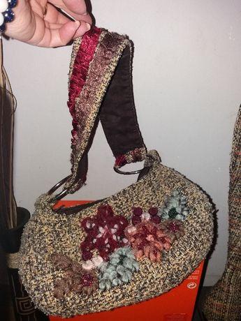 Арт ботуши плетиво в комплект с чанта