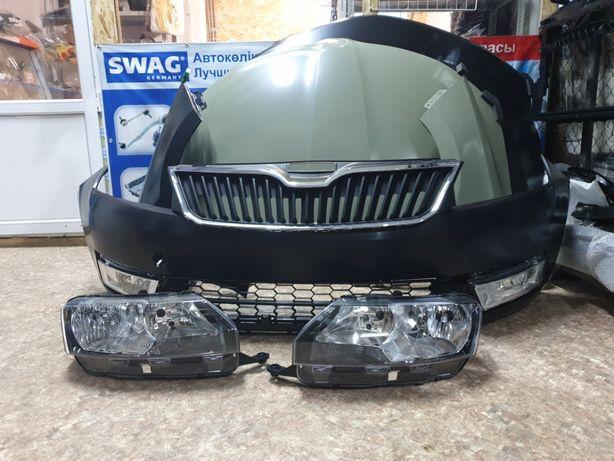 Фара на Шкода Рапид 2013-, бампер, капот, решетка, крыло, радиатор