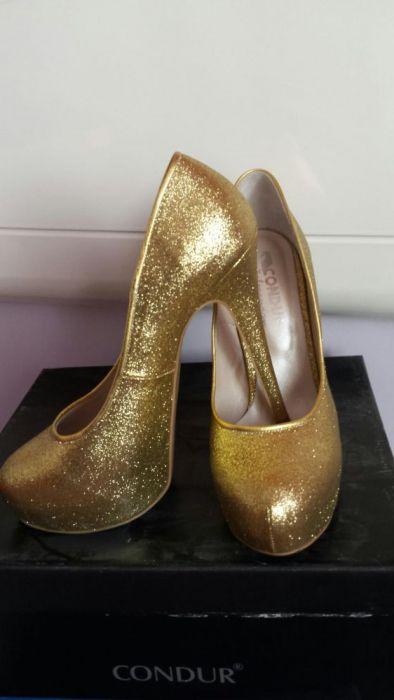 Pantofi piele aurii Condur platforma