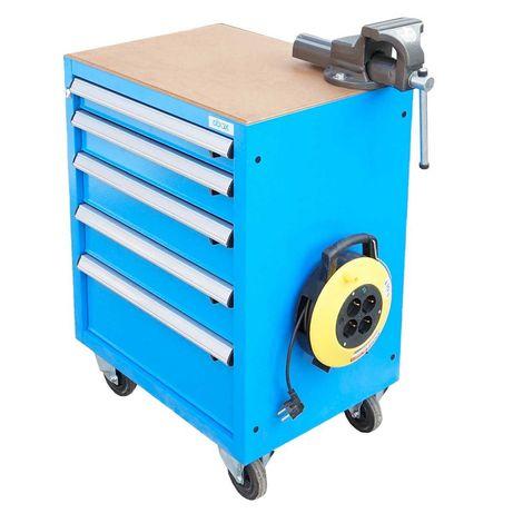 Dulap carucior pentru scule metalic cu 5 sertare echipat cu menghina