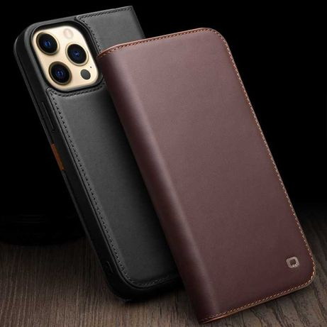 Husa iPHONE 13 PRO MAX, piele naturala mata Qialino Business, portofel