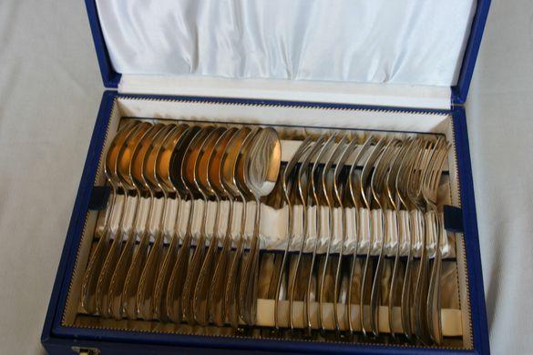 Комплект 48бр Старинни Посребрени Прибори За Хранене Лъжици Вилици Нож