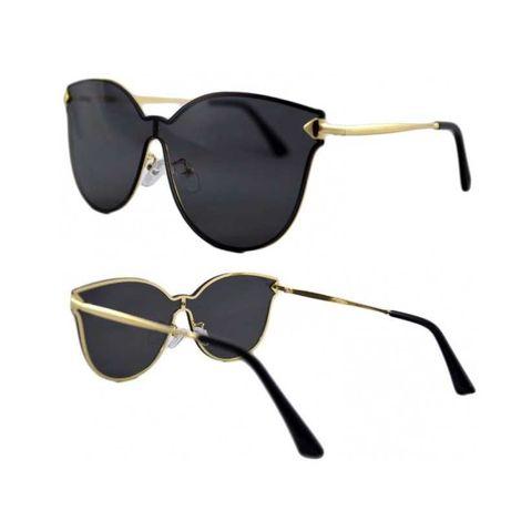 Ochelari de soare dama, Cat-Eye, Negri, Rama Aurie, Design Modern