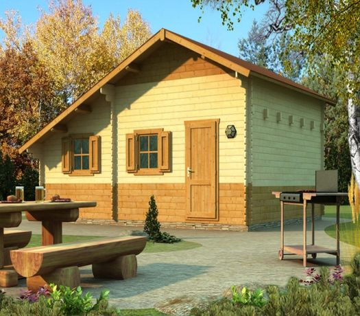 Сглобяеми дървени преместваеми къщи масив 31м2 - дървени бунгала масив