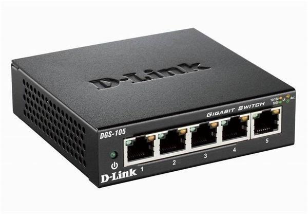 D-Link DGS-105 - 5-Port Gigabit Desktop Switch (2000 mbps) Plug+Play