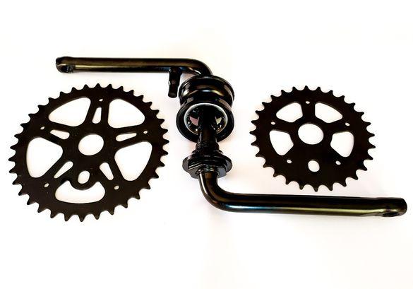 НОВИ BMX 1PC Курбели S образни със Средно движение и плоча за БМХ