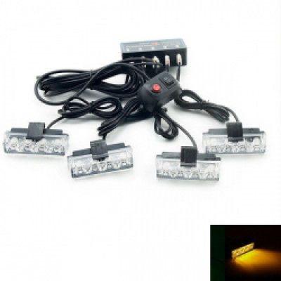 Блиц авариен 4-LED 4 броя предупредителни мигащи светлини 12V