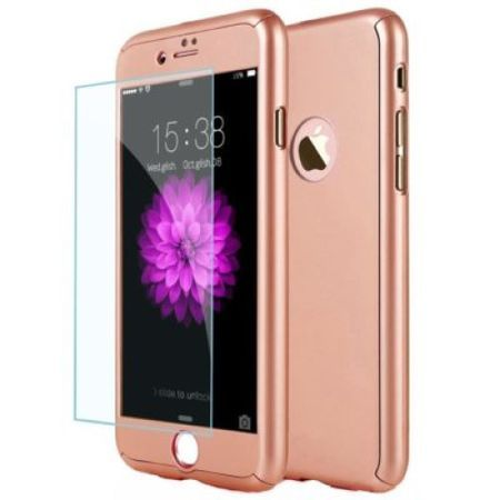 Capac de protectie Full cover 360° pentru Apple Iphone 8, rose gold