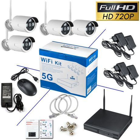 ОХРАНИТЕЛНА система Безжична -4 канална + 4 IP камери