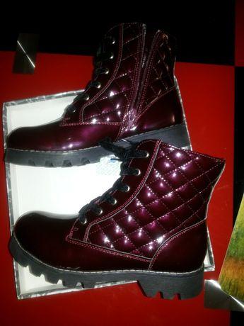 Бордовые Лаковые ботинки вишня цвет новые в коробке 37-38р
