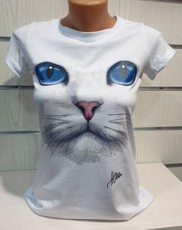 Страхотна нова дамска тениска с 3d щампа котка със сини очи