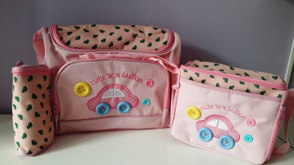Нова бебешка чанта за количка розова, синя, памперси, кенгуру бебе