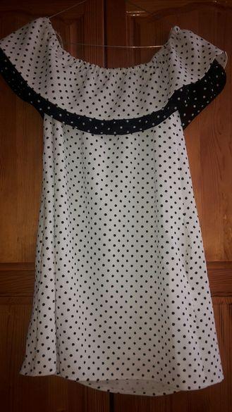 Бяла рокля на точки с джобове
