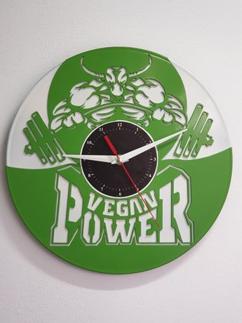 """Vegan Power"" Ceas de perete lucrat manual din discuri de VINYL"