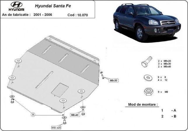 Scut metalic pentru motor Hyundai Santa Fe 2001-2006 - otel 3mm