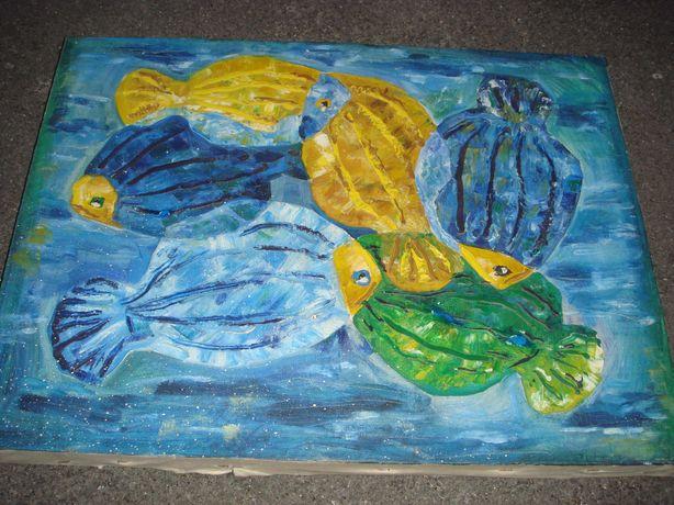 Картина Рыбы в бирюзовом и янтарных цветах  40см х 55 см Холст Масло