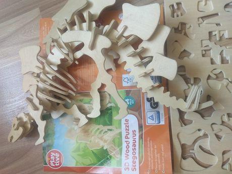 Puzzle educativ Stegozaur 3D din lemn pentru copiii