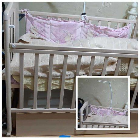 Продам детскую кроватку с 0, стульчик для кормления с 6 месяц в отлич