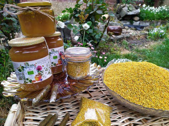 Пчелен прашец , мед , прополис.