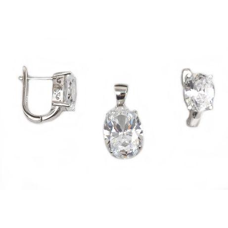 Set argint rodiat cu zirconiu - DA162 - Transport Gratuit Curier