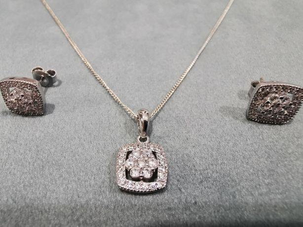 Set bijuterii argint - lant, pandantiv si cercei cu cristale zirconiu