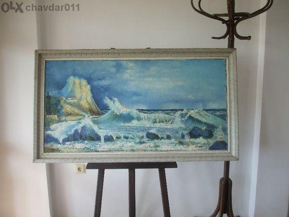 буря В Балчик-голяма И Красива Маслена Картина.размери 135 Х61 см.480л