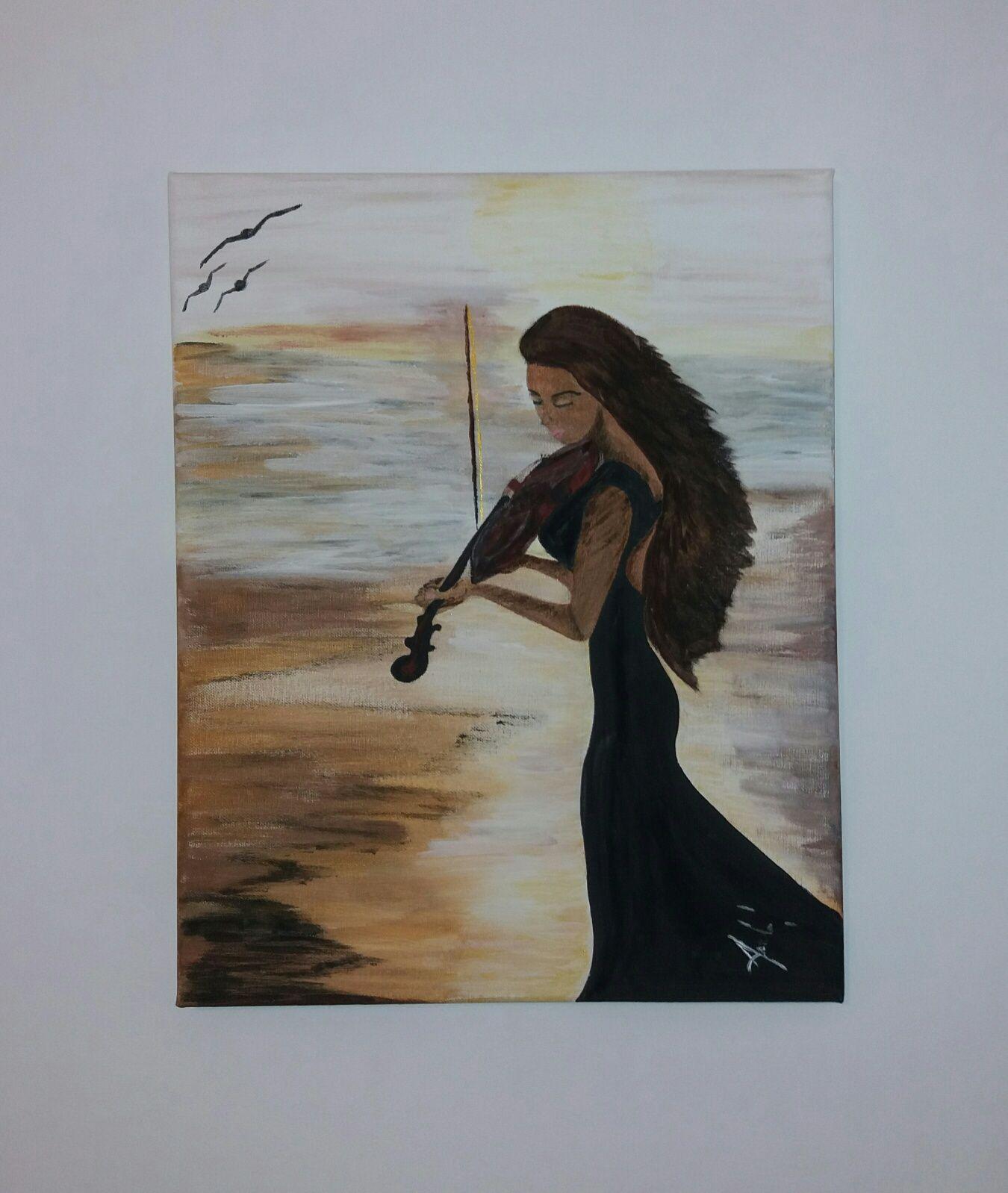 Tablou pictat canvas Fata cu Vioara 40 x 50 cm