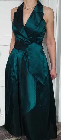 Rochie lunga tafta verde smarald ocazie