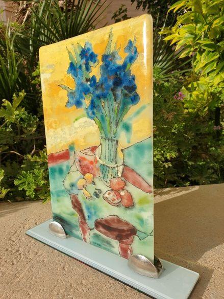 """Картина рисувана върху стъкло """"Ириси"""""""