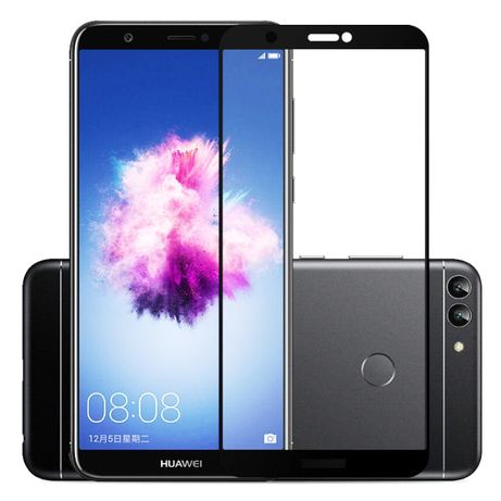 Huawei P Smart - Pachet Husa Silicon Clara/Neagra + Folie Sticla Full