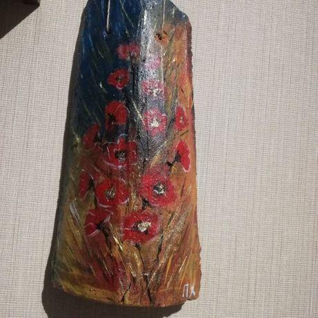 Рисунка върху керемида с маслени бои